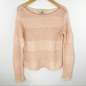 Free People Pink Open Textured Sweater, Size L